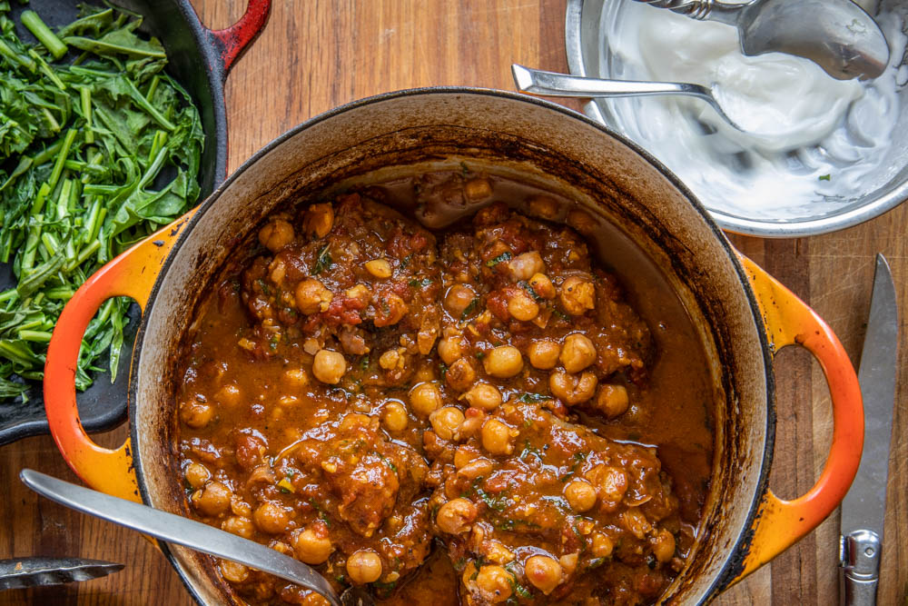 Braised goat neck with tomato, chickpeas and harissa Moroccan recipe
