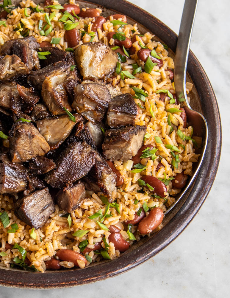 Lamb or goat shank rice and beans recipe