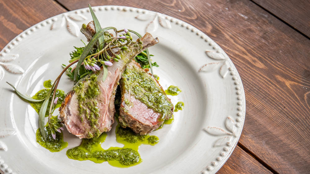 Spring goat chops with foraged greens and ramp leaf butter
