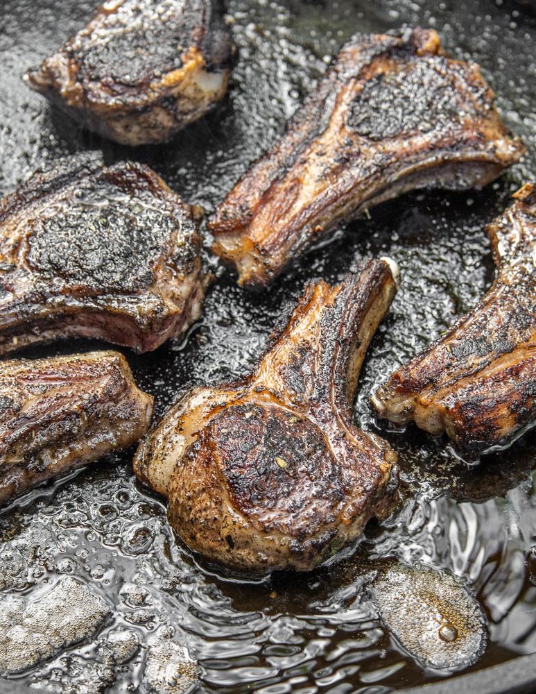 Black trumpet mushroom crusted goat chops