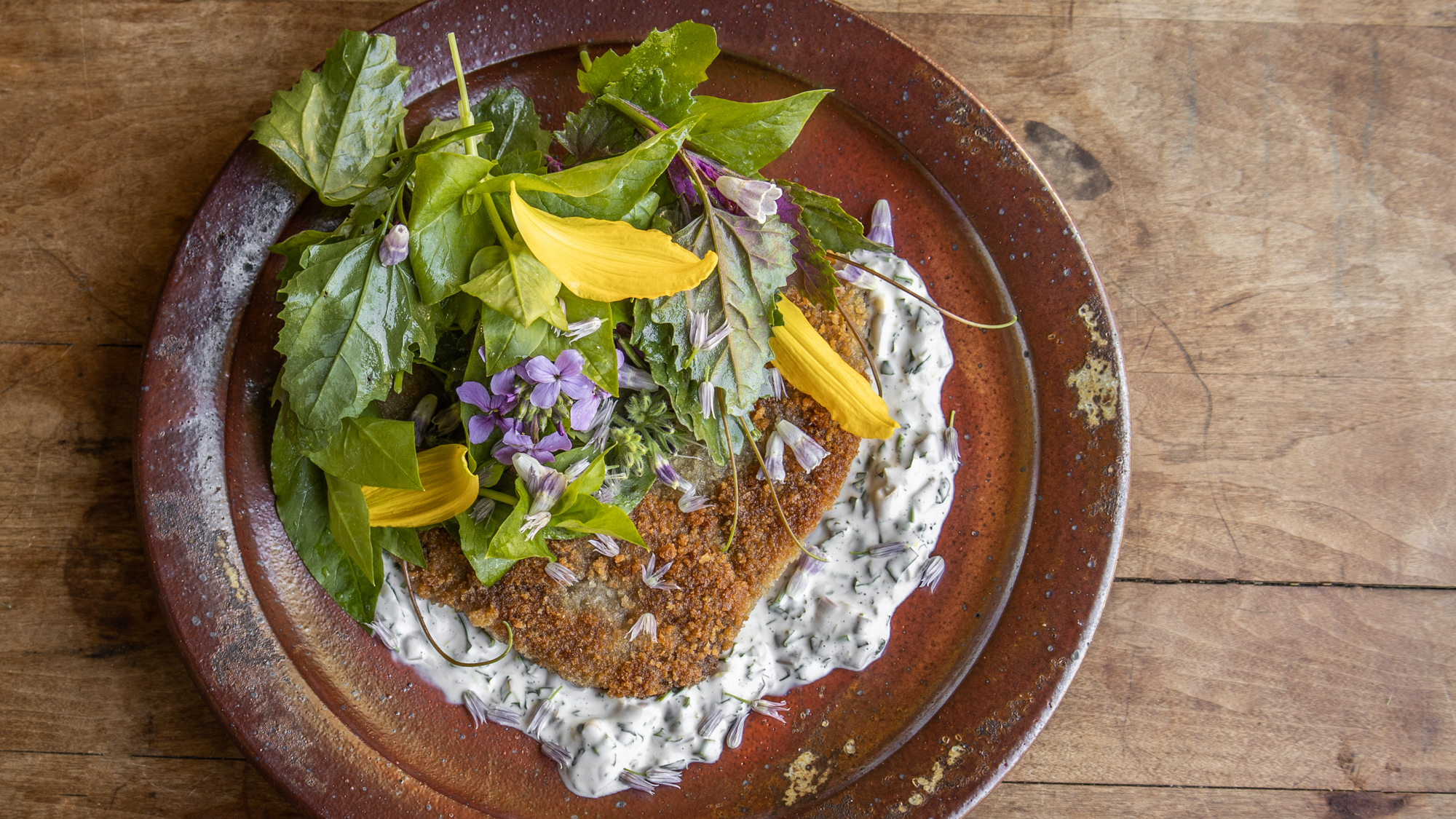 Lamb Milanese with lambs quarters salad and pickled ramp aioli